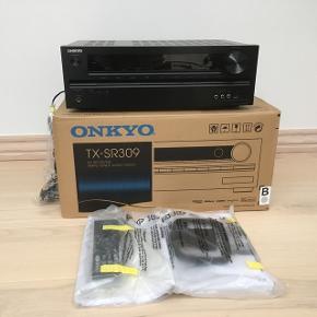 Onkyo TX-SR309 Home teater receiver with 3D-ready HDMI switching. 5 Chanel amplifier, 65 watts  per channel i to 8 ohms og HDMI compatible. Aldrig brugt og i original emballage. Nypris: 2999,-. Link: www.crutchfield.com/S-INFFqUSFmYB/p_580TXS309B/Onkyo-TX-SR309.html. Kan sendes med GLS for 59,-.  Har også 2 stk. JAMO S506 gulvhøjtalere til salg.