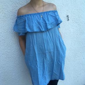 Off should kjole , denim farvet, str S