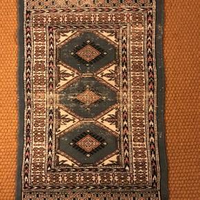 Ægte indisk håndhævet tæppe købt i Rajastahn - Indien for ca 20 år siden. 96 x 56 cm.