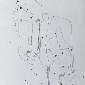 One line kunst lavet på tykt akvarel papir med tusch og akvarel 🧑🏼🎨  A4-størrelse (29,7 x 21 cm)  Ramme medfølger ikke