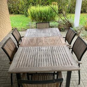 Flot havesæt med 8 stole og tilhørende hynder. Fin stand, lidt afskrabninger på armlæn (se stolebillede) ellers intet. Byd gerne :)