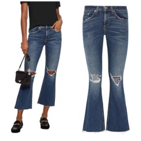 Rag & Bone stretch denim blå 3/4 jeans med vidde og rip detaljer. Super bløde i str. 28. Ny stand.  Nypris ca. 2000kr