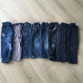 8 bukser i str 92 (den ene 98) fra forskellige gode mærker: Wheat, Lego, Name it, Esprit, H&M Gmb, nogle næsten ikke brugt.