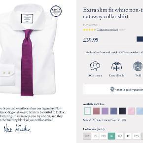 5 nye (stadig i indpakning) hvide Charles Tyrwhitt skjorter der er bestilt hjem i forkert størrelse. 1 eller flere for 350kr. pr. stk. eller alle 5 for 1500kr.