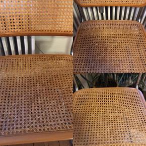 3 fede flet stole. Frisvingerstole, baberstole. Fletten er indtakt, men de er brugte. De to ved vinduet er lidt mørkere end den anden, men ikke så meget at de ikke kan stå sammen :) 550kr for alle 3. Kolding .