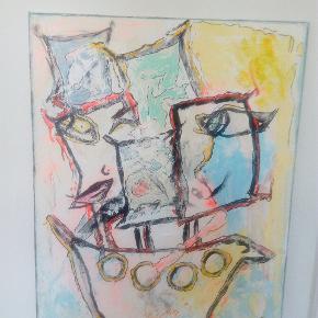 Skønt farverigt maleri 100 cm x 50 cm Se mine andre annoncer med flere malerier