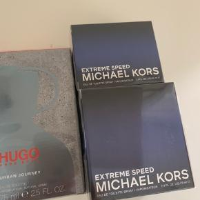 Michael Kors Extreme speed 70 ml Edt Michael Kors Extreme speed 40 ml Edt Hugo Boss Urban journey 75 ml Edt  Alle uåbnede Prisen er for dem alle samlet