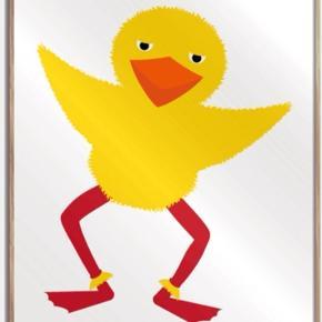 NY Plakat med kylling.  Måler 50X70 cm.  Nyprisen var 300 kr.  Sælges for 100 kr.