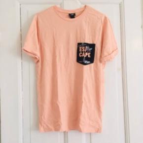 Frisk lyserød herre T-shirt fra H&M   100% cotton    11-A