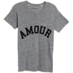 Lækker t-shirt med velour print - den er grå/koksgrå. Velholdt.  Handler kun via mobilepay