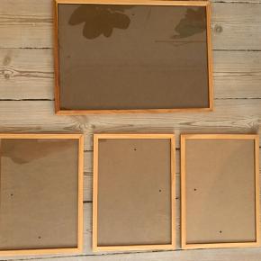 Sælger disse rammer, da de ikke bruges længere. Købt i Søstrene Grene.  1 stk. 43*31cm 3 stk. 31*23cm   Sælges kun samlet. Mp 120kr. pp og TS gebyr.