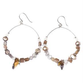 Varetype: -=NY=- SPICE ØRERINGE Størrelse: 5 cm Farve: Brun Oprindelig købspris: 500 kr.  A&C JEWELLERY SPICE ØRERINGE  Håndlavet smykke fra norske A&C Jewellery Design Oslo.  Skønne øreringe med små perler. Smykket er belagt med det eksklusive ædelmetal rhodium, der giver et blankt sølvhvidt udseende.  Øreringene er fra A&Cs eksklusive serie Essence. Essence er en høj kvalitets serie, hvor smykkerne er belagt med ægte rhodium eller ægte guld. Smykkerne er dekoreret med kombinationer af halvædelstene, glasperler, perler og perlemor.  Diameter på ørering: ca. 5 cm.  Serie: Essence Model: Spice Style: 1054-0148   Varens stand: aldrig brugt