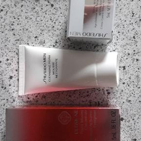Shiseido serie Man.  Cleansing foam mousse 30 ml. Power infusing concentrate 5 ml. Eye cream 5 ml. Age-Defense Anti-fatique cream 5 ml.  Aldrig brugt. Samlede pris 50 kr.