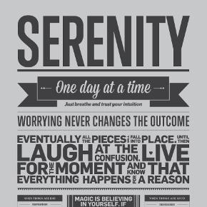 Serenity plakat købt på ilovemytype.com.  Den har aldrig være i ramme og har bare ligget inde i et plakatrør.  Nypris: 220kr  Byd gerne og tjek mine andre annoncer for mængderabat 🌟