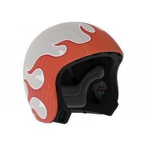 Fedeste hjelm fra Egg Helmet  Inkl orange skin med flammer 2 stk hvide djævlehorn . Str er Small . Det er kun skinnet der er god med brugt - selve hjelmen er næsten ny