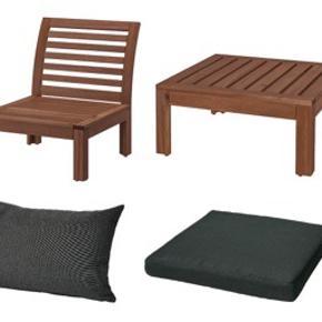 Äpplarö/Hållö sæt udendørsmøbler, IKEA Møbler, massiv akacie 2 x 1-pers. siddesektion https://www.ikea.com/dk/da/p/aepplaroe-1-pers-siddesektion-udendors-brun-bejdse-brun-60205188/ 1 x bord/taburetsektion https://www.ikea.com/dk/da/p/aepplaroe-bord-taburetsektion-ude-brun-bejdse-brun-80213446/ Hynder i polyester: 2 x ryghynde, sort, sælges ikke længere i DK https://www.ikea.com/no/no/p/halloe-ryggpute-utendors-svart-80264493/ 3 x siddehynde, sort, sælges ikke længere i DK https://www.ikea.com/no/no/p/halloe-setepute-utendors-svart-60264540/ Se links for mål Stand: 1,5 år gammelt, stået udenfor, almindelige brugsspor.  Ny pris, hynder: ca 725 DKK Ny pris, møbler: 1250 DKK Foretrækker at sælge samlet til 800 DKK Befinder sig i Kbh SV