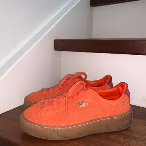 Brændt-orange farvede Puma sneakers i str. 36. Små skader som et par små sorte prikker . Brugt få gange og aldrig vasket. Fra rygerfrit hjem🚭☺️