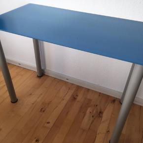 Ikea bord 100x52 cm blåt med grå ben