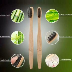 Nye Træ tandbørster sort, grøn, hvid børste Fast pris