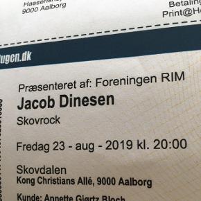 2 billetter til skovrock i skovdalen i dag d. 23.08 kl. 20-23  Med Jacob Dinesen og Hjalmer  Samlet pris Afhentes i Gug