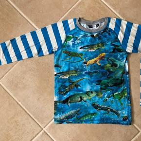 Super lækker bluse fra skønne Molo, str. 128, men den er til den store side. Blusen har print med flotte farverige havdyr foran og bagpå, og stribede ærmer. Den er sååååå fin ☺️   Se også mine andre annoncer. Se om der er mere der frister 😊 Jeg har rigtig meget drengetøj i den størrelse 👍🏻🙈