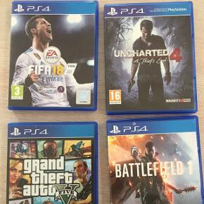 GTA, Fifa 18, Battlefield og Uncharted sælges, 85 kr pr spil