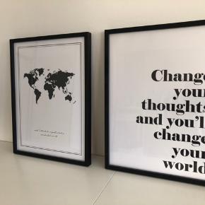Sælger disse 2 plakater - 100 kr. pr. stk.  1. Plakat: The world 2. Plakat: Citat  Både plakat og ramme medfølger  De måler 32x42