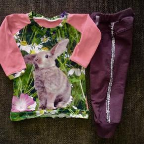 86 Tøjpakke tøjpakker kjole bluse m kanin  blomster  Name it grå bulder sølv glimmer stribe