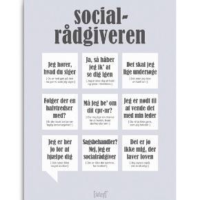 Helt ny plakat fra dialægt med 'socialrådgiveren' sælges.  Mål 50x70 cm. Np er 350 kr og den sælges for 175 kr. Aldrig været i brug. Den kan sendes med DAO.