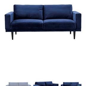 Flot velour sofa fra Ilva sælges. Den er 1,5 år gammel - og brugt meget lidt  Puf kan tilkøbes for 300 kr.