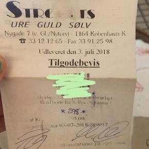 Tilgodebevis til Ure, guld, Sølv på 295 kr. Gælder til Strøgets, Kultorvets og Nørrebros butikker. - Sælges til 240 kr