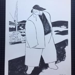 """Litografi af Mikael Pasternak  Størrelse: 30x40 cm.   Signeret i trykket: M. Pasternak  Sender gerne 👀📦  Biografi: Født 1905 i Riga. Død 1967 i Virum. (Begravet Sorgenfri Kirkegård i Lyngby)   Faderen havde forretning i Riga  og var eksportør af træ til Europa.   Omkring 1920 kom Mikael Pasternak i en meget ung alder på Kunstakademiet i Riga, hvor han uddannede sig til kunstmaler og tegner. På en studietur til Paris ca. 1925, mødte han den unge, danske pige, Anne Margrethe Petersen fra Roskilde. De giftede sig i 1927. Parret boede i Riga, hvor Pasternak ernærede sig som tegner ved ugeblade og aviser. I 1934 tog fru Pasternak og en søn, som var blevet født, til Danmark, og året efter fulgte Mikael Pasternak efter. Da Pasternak kom til Danmark, begyndte han at tegne ved Politikens søndagstillæg """"Magasinet"""", der havde sin glansperiode fra 1922-1963. Magasinet var meget populært pga. tegnere som Aage Sikker Hansen, Arne Ungermann, Ib Andersen og Mikael Pasternak. I starten dekorerede han også butiksvinduer. Under krigen boede familien i Hulby ved Slagelse, og han var fast tegner ved Sorø Amtstidende. Senere flyttede familien til København, og Pasternak blev freelance-tegner. Bl.a. var han fast tegner på Svikmøllen fra 1946-1954 – og gennem mange år leverede han illustrationer til Illustreret Familie Journal. Kilde: piaper.dk  Kig også lidt på mine andre annoncer med kunst fra anerkendte kunstnere. Tilbyder også professionel indramning med passe partout til fornuftige priser.   Meget kunst på lager 👍🏻"""