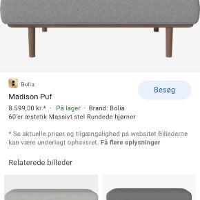 Super fin puff til madison sofa fra Bolia.com i grå uld og mørke ben.