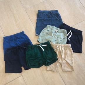 7 par shorts i størrelse 86 fra H&M og VRS.
