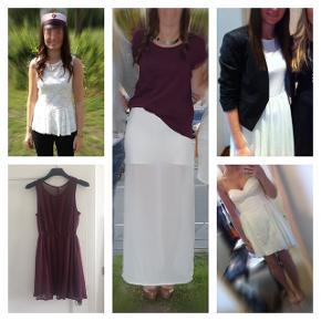 Jeg sælger tre kjoler, en nederdel og en top i hhv. hvid og bordeaux,  der matcher studenterhuen. Det hele passes af str 36/S. Sælges samlet for 150 kr, eller kom med et bud.