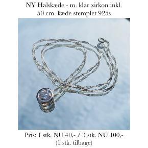 NY Halskæde - m. klar zirkon inkl. 50 cm. kæde stemplet 925s   Pris: 1 stk. NU 40,- / 3 stk. NU 100,-  (1 stk. tilbage)   Se også over 200 andre nye produkter, som jeg har til salg herinde :-)