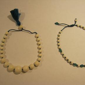 brun med 1 perle. mål. 22 cm . kan justeres . grøn med bruun, mål 19 cm,  kan justeres. pris pr stk. 100 .- + pp.