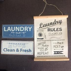 Fine skilte til vaskerummet  port er 38kr hvis de skal sendes          Pris pr stk 40kr for de 2 små 50kr for det store det hvad jeg selv har købt dem til så det er prisen 😊