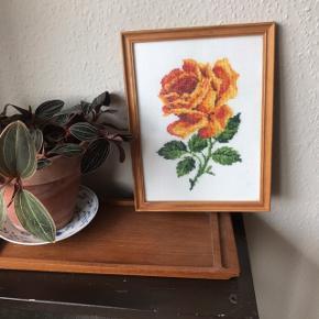Smukt broderi i ramme med orange rose 🌹 i super flot stand, kun en smule skjolder/misfarvninger på, som er umulige at undgå med den alder, den har 💕 måler ca. 26 x 20 cm inkl. ramme. Haves også i rød, smukt som par!   Bemærk - afhentes ved Harald Jensens plads eller sendes med dao. Bytter ikke 🌸  💫 Rose roser broderi broderet kunst billede ophæng billed billedvæg billedevæg ramme træramme rød orange retro loppefund