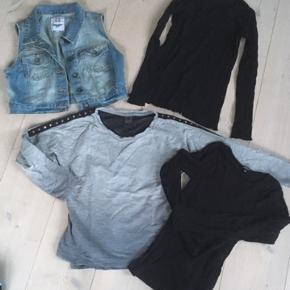 Sort trøje: QueenZ str. 9/10 Sort trøje: D-xel, str 10 Cowboy vest: Grunt str M pige Grå sweatshirt: by Hound, str. S  Køber betaler fragt