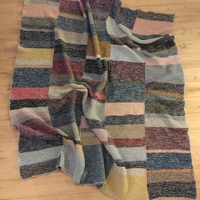 Håndstrikket uldplaid i blå, brun, lilla og gule nuancer. Kan maskinvaskes på uld/håndvaske program. Tørres fladt. Måler 165 cm x 145 cm.