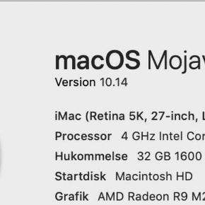 """iMac, 27"""" 5K, 4 GHz Jeg sælger min iMac, da jeg ikke får brugt den så meget som den fortjener længere. Den er en rigtig solid arbejdshest og den er blevet passet rigtig godt på."""