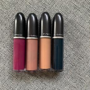 4 MAC liquid matte lipstick lipsticks læbestift  👄Farve fra venstre👄 -Oh lady -Cafe au chic -Dash O' Spice -Young attitude (solgt)  Np 220 kr/ stk 💄Mp 180kr/3 stk💄 Sælger samplet