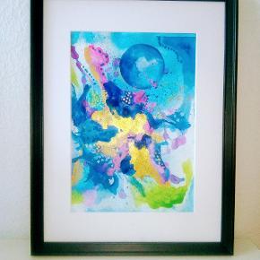 Størrelse 30x40cm med ramme  Original abstrakt maleri, malet på kraftig akvarel papir A4. 300 kr med sort ramme.