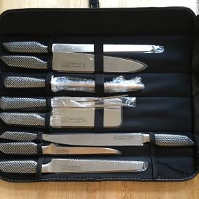 """Flot knivsæt i """"taske"""" fra Kochtopfhaus Müller. Helt nyt - modtaget i gave."""