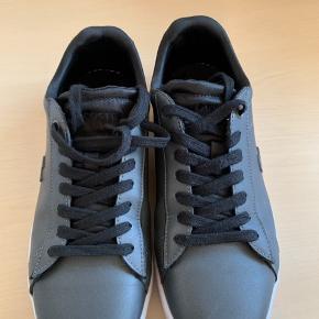 Smarte sneakers fra Lacoste i mørkegrå nuance med sorte snørrer og mærker. Brugt til daglig på kontor.