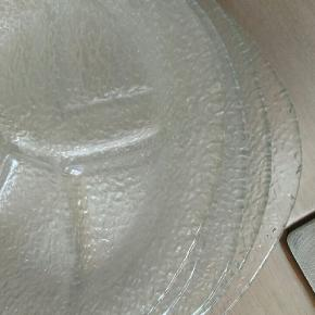 6 stk.Glas tallerkener med rumdeling