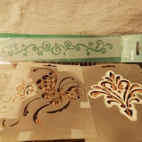 Skabeloner til maling på væg eller kreaprojekter. Den ene er aldrig brugt. De to andre er brugt, men dur fint.