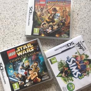 Tre Nintendo spil. LEGO Indiana Jones 2, LEGO starwars the complete saga og the sims 3. Alle fungere super og er med æske😊