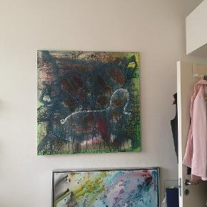 Akryl på hørlærred 1 x 1 meget Kan leveres i København og omegn